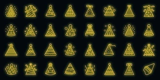Zestaw ikon party czapki. zarys zestaw imprezowych czapek wektor ikony neonowy kolor na czarno