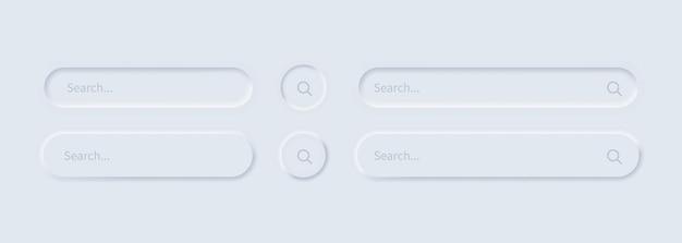 Zestaw ikon paska wyszukiwania lub okno przeglądarki w stylu neumorfizmu
