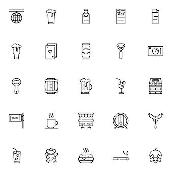 Zestaw ikon paska, z ikoną stylu konturu