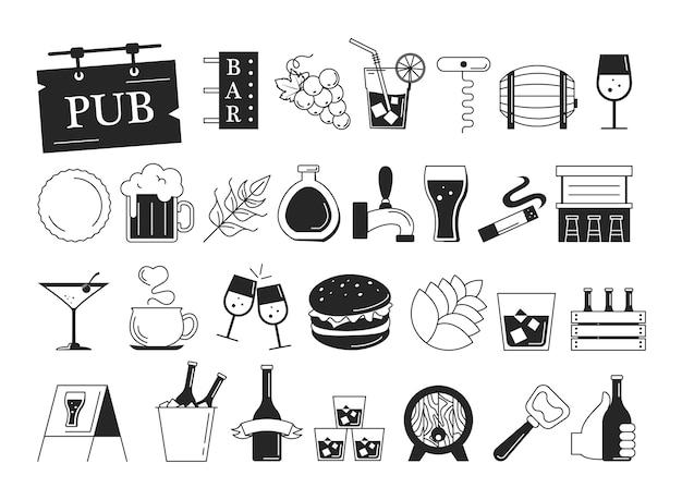 Zestaw ikon paska. zbiór symboli alkoholu