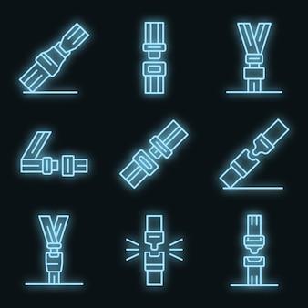 Zestaw ikon pasów bezpieczeństwa. zarys zestaw ikon wektorowych pasów bezpieczeństwa w kolorze neonowym na czarno