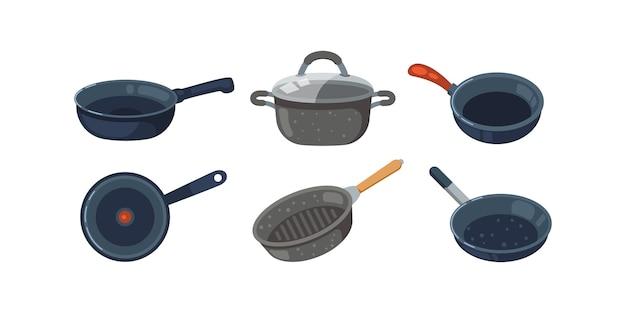 Zestaw ikon patelni. garnki kuchenne i różne patelnie na białym tle.