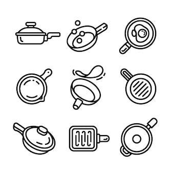 Zestaw ikon patelni, styl konspektu
