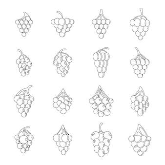 Zestaw ikon pęczek wina winogron