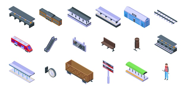 Zestaw ikon peronu kolejowego. izometryczny zestaw ikon wektorowych platformy kolejowej do projektowania stron internetowych na białym tle