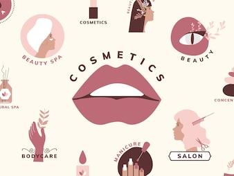 Zestaw ikon piękna i kosmetyków