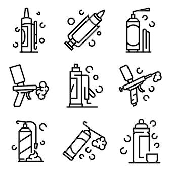 Zestaw ikon pianki poliuretanowej