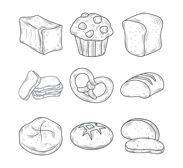 Zestaw ikon pieczone, precel pieczywa, muffinki, całe i więcej na białym tle