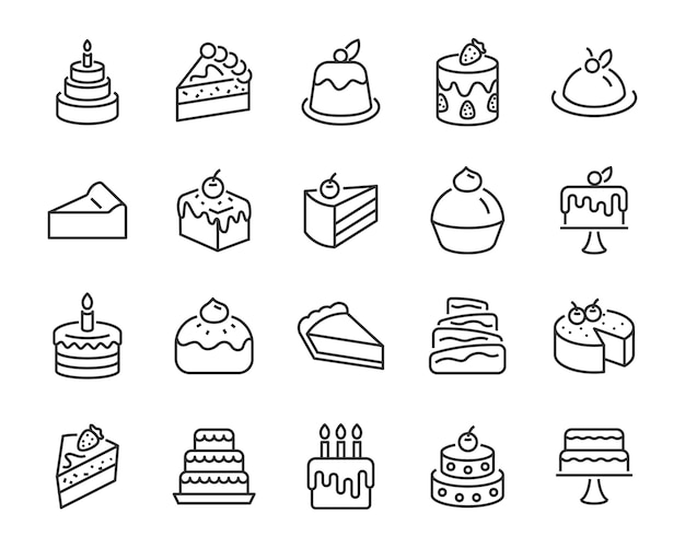 Zestaw ikon piekarni, takich jak ciasto, bułka z masłem, sernik, ciasto czekoladowe, tort weselny