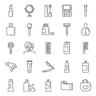 Zestaw ikon piękna, z ikoną stylu konspektu