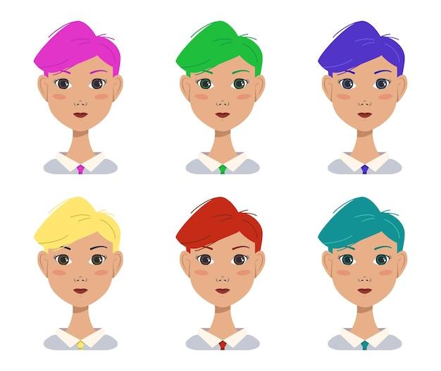 Zestaw ikon pięknej atrakcyjnej dziewczyny z nowoczesną modną fryzurą. avatar kobieta z wielokolorowymi jasnymi włosami w kolorze niebieskim, zielonym, czerwonym, różowym, żółtym. pracownik biurowy. płaskie ilustracji wektorowych