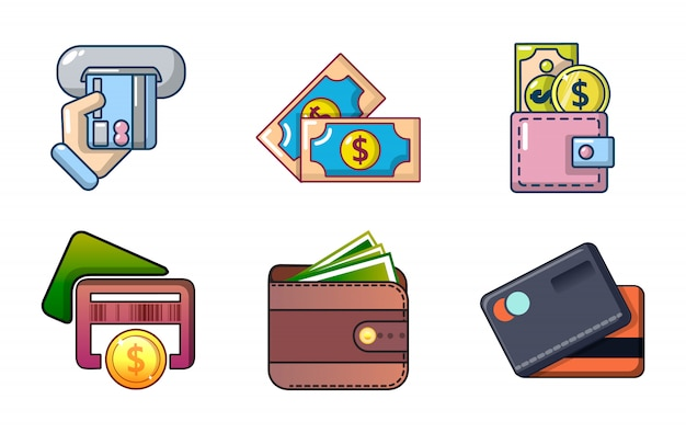 Zestaw ikon pieniędzy. kreskówka zestaw ikon wektorowych pieniądze zestaw na białym tle