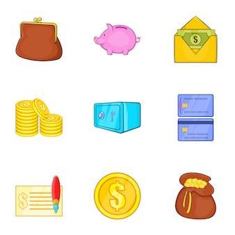 Zestaw ikon pieniędzy, stylu cartoon
