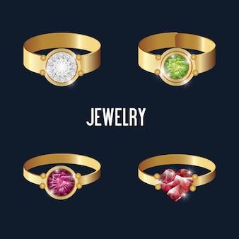 Zestaw ikon pierścienie złote klejnoty na białym tle