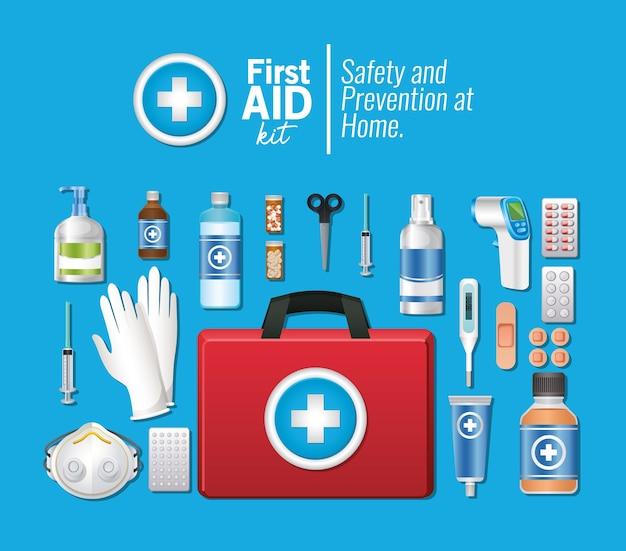 Zestaw ikon pierwszej pomocy na niebiesko ilustracji
