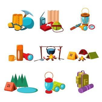 Zestaw ikon piesze wycieczki i camping