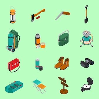 Zestaw ikon pieszych wycieczek