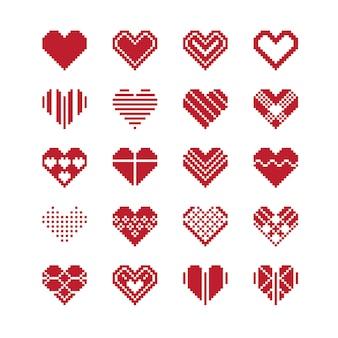 Zestaw ikon pikseli serce walentynki