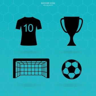 Zestaw ikon piłki nożnej. streszczenie znak piłki nożnej i symbol. ilustracja wektorowa.