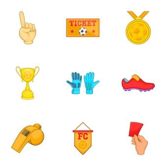 Zestaw ikon piłki nożnej, stylu cartoon
