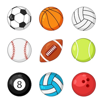 Zestaw ikon piłki sportowe na białym tle. piłka nożna i baseball, gra w piłkę nożną, rugby i tenis.