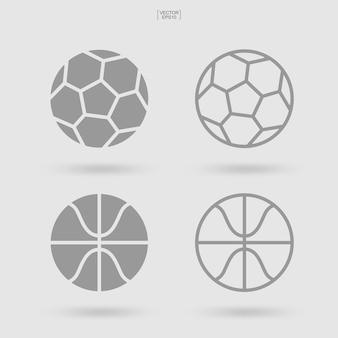 Zestaw ikon piłki sportowej. piłka nożna piłka nożna i koszykówka znak i symbol. proste płaskie ikona dla witryny sieci web lub aplikacji mobilnej. ilustracja wektorowa.