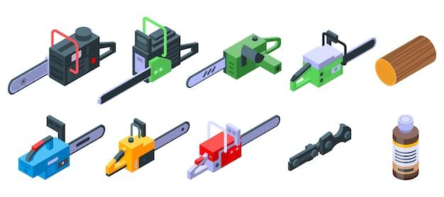 Zestaw ikon piły łańcuchowej, izometryczny styl