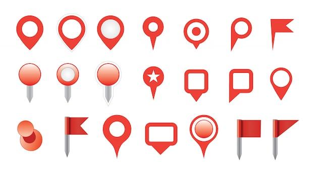 Zestaw ikon pinezki mapy
