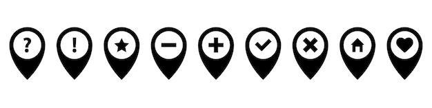 Zestaw ikon pinezki. różne szpilki