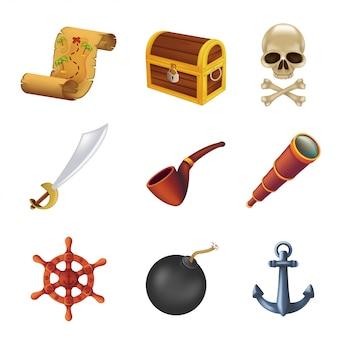 Zestaw ikon pirata morskiego z ludzką czaszką, szablą, kotwicą, kierownicą, lunetą, czarną bombą, rurą, starożytną skrzynią i mapą skarbów. ilustracja na białym tle