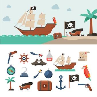 Zestaw Ikon Piratów Darmowych Wektorów
