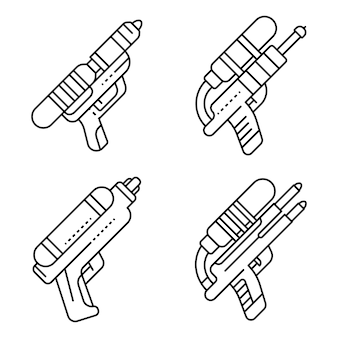 Zestaw ikon pistoletu tryskać. zarys zestaw ikon wektorowych pistolet tryskać