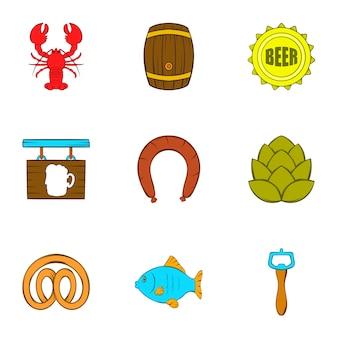 Zestaw ikon piwa, stylu cartoon