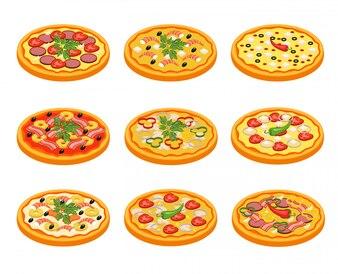 Zestaw ikon pizzy