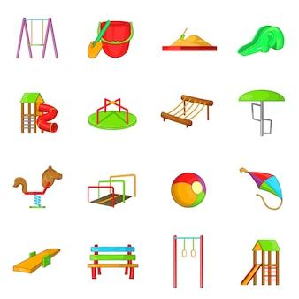 Zestaw ikon plac zabaw, stylu cartoon