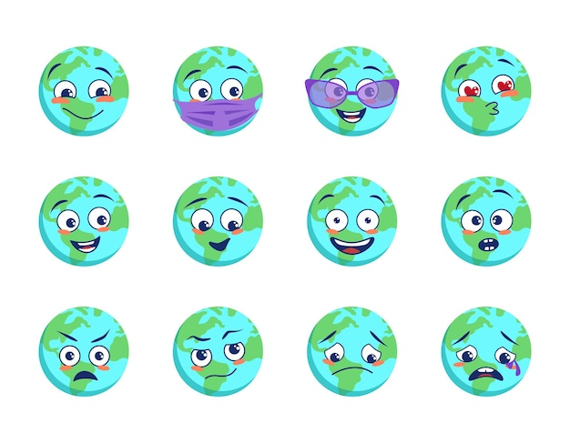 Zestaw ikon planety ziemi z różnymi emocjami maski medyczne i gogle