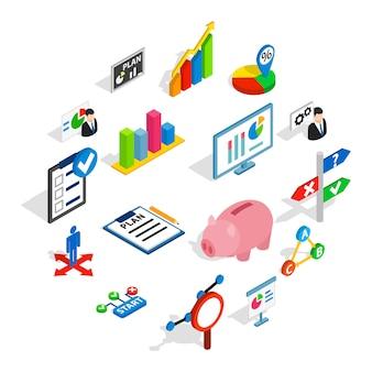 Zestaw ikon planu biznesowego, izometryczny styl 3d