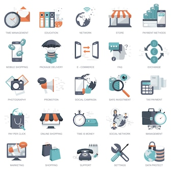 Zestaw ikon płaska konstrukcja dla biznesu