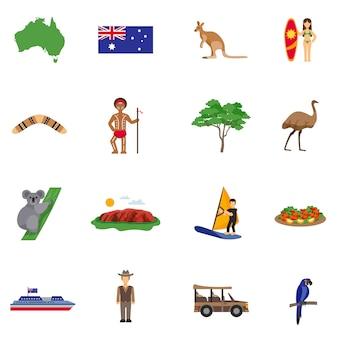 Zestaw ikon płaski australii
