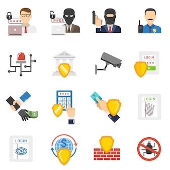 Zestaw ikon płaski bezpieczeństwa banku