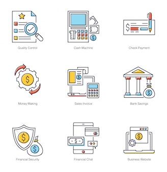 Zestaw ikon płaski bezpieczeństwa finansowego