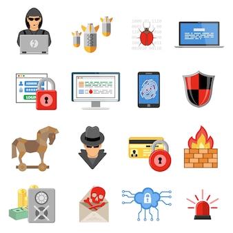 Zestaw ikon płaski bezpieczeństwa internetu