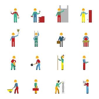 Zestaw ikon płaski budowniczych