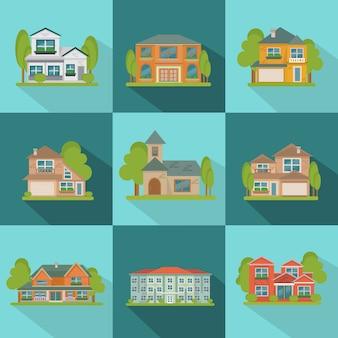 Zestaw ikon płaski budynków