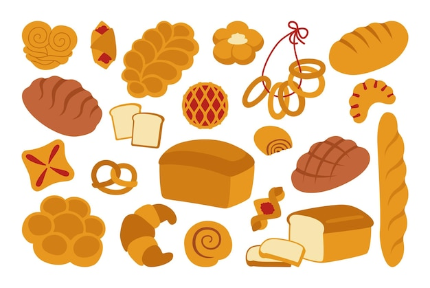 Zestaw ikon płaski chleb. prosty chleb pełnoziarnisty i pszenny, precel, muffin, rogalik, francuska bagietka ekologiczne wypieki, sklep spożywczy