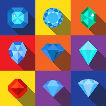 Zestaw ikon płaski diament