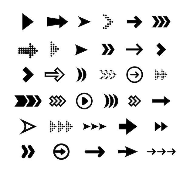 Zestaw ikon płaski duże czarne strzałki. nowoczesne abstrakcyjne proste kursory, wskaźniki i przyciski kierunku wektor zbiory ilustracji. projektowanie stron internetowych i koncepcja cyfrowych elementów graficznych