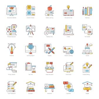 Zestaw ikon płaski edukacji cyfrowej