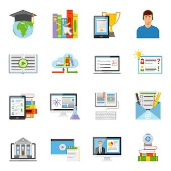 Zestaw ikon płaski edukacji online