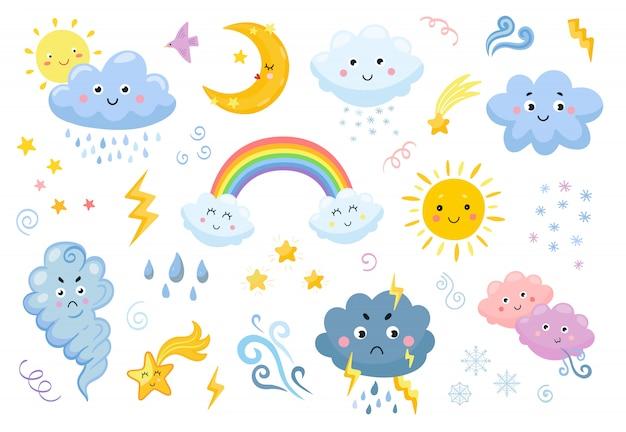 Zestaw ikon płaski emotikon pogody